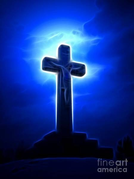 Crucifiction Wall Art - Mixed Media - Dramatic Jesus Crucifixion by Pamela Johnson