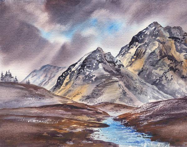 Wall Art - Painting - Dramatic Landscape With Mountains by Irina Sztukowski