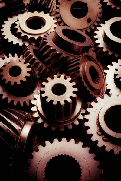 Wall Art - Photograph - Dramatic Light On Gears by Garry Gay