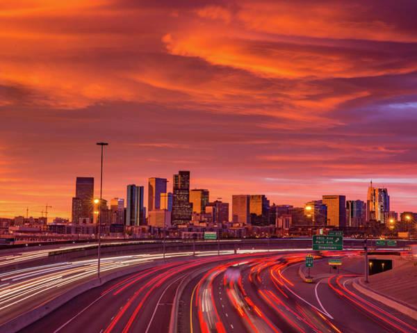 Wall Art - Photograph - Dramatic Mountain Wave Cloud Over Denver Skyline by Bridget Calip