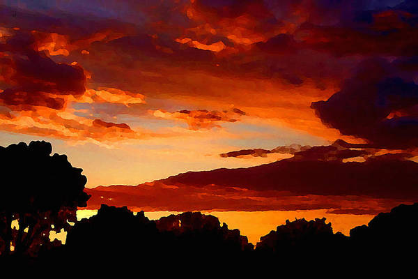Digital Art - Dramatic Orange Sundown In Oklahoma by Shelli Fitzpatrick