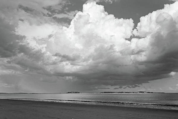 Photograph - Dramatic Puffy Clouds Over Nahant From Revere Beach Revere Ma Black And White by Toby McGuire