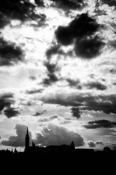 Photograph - Dramatic Sky Over Budapest Black And White by Matthias Hauser