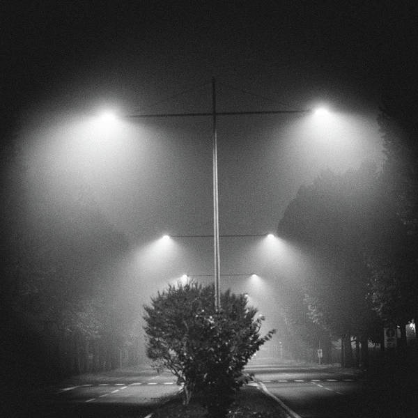 Photograph - Dramatic Street Lights With Lamp Posts - Symmetry And Heavy Filter by Alexandre Rotenberg