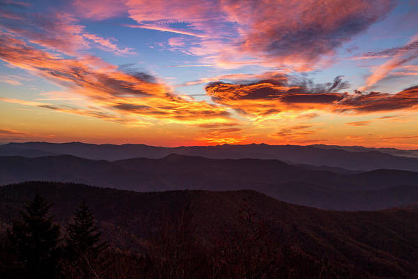 Photograph - Dramatic Sunrise In The Great Smoky Mountains by Teri Virbickis