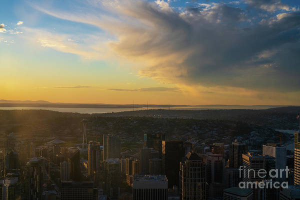 Wall Art - Photograph - Dramatic Sunset Clouds Above Seattle by Mike Reid