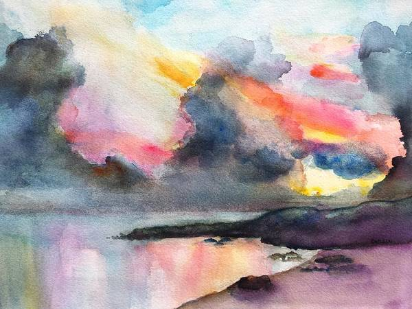 Painting - Dramatic Sunset On A Tropical Beach by Carlin Blahnik CarlinArtWatercolor
