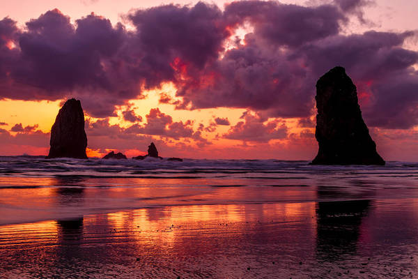 Photograph - Dramatic Sunset On Cannon Beach Oregon by Teri Virbickis