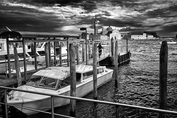 Photograph - Boats On The Docks And San Giorgio Di Maggiore In Venice, Italy - Black And White by Fine Art Photography Prints By Eduardo Accorinti