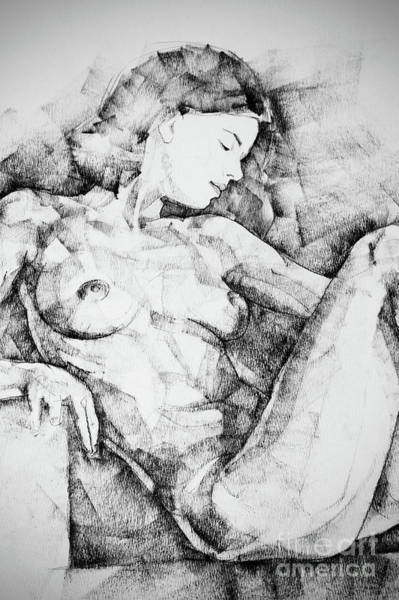 Drawing - Drawing Beautiful Girl Figure by Dimitar Hristov