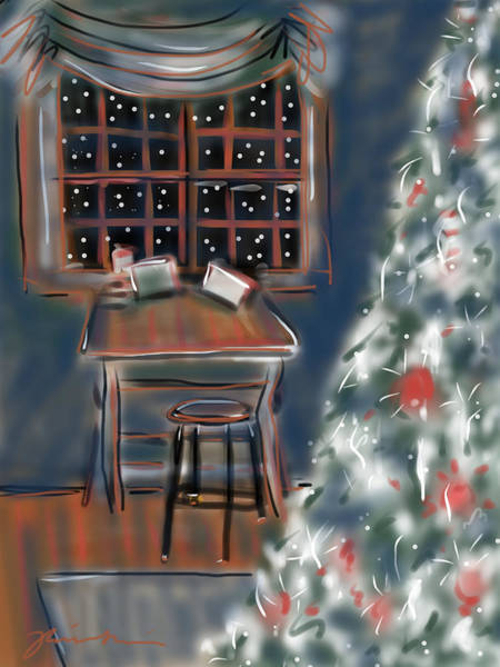 Painting - Drawing Board At Christmas by Jean Pacheco Ravinski