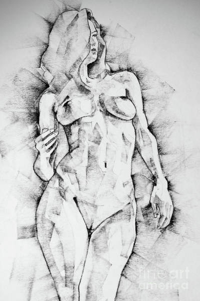 Drawing - Drawing Of Girl Portrait Standing Figure by Dimitar Hristov