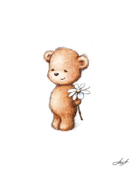 Nursery Room Digital Art - Drawing Of Teddy Bear With Daisy by Anna Abramska
