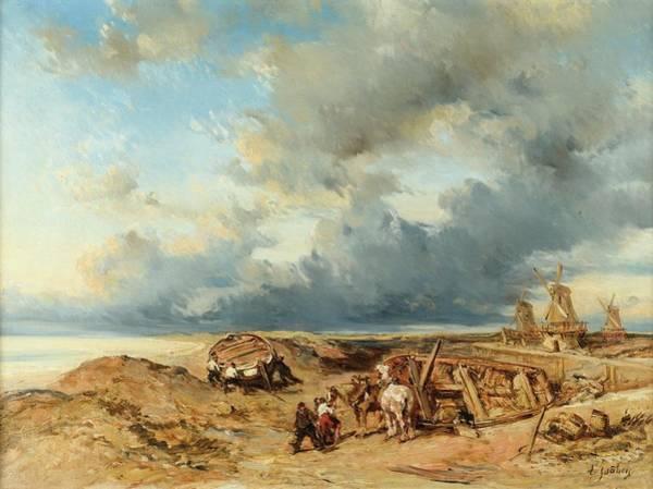 Gabriel Painting - Drawn Carriage On The Beach by Louis Gabriel