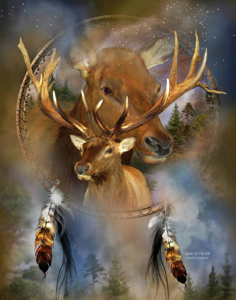 Native Mixed Media - Dream Catcher - Spirit Of The Elk by Carol Cavalaris