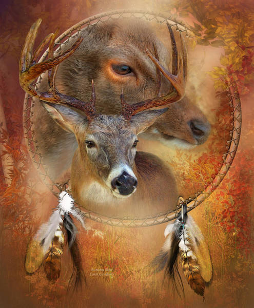 Native Mixed Media - Dream Catcher - Autumn Deer by Carol Cavalaris