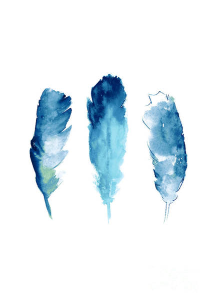 Blue Feather Wall Art - Painting - Dream Catcher Feathers Painting by Joanna Szmerdt