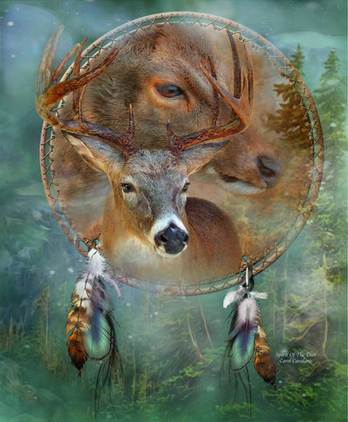 Native Mixed Media - Dream Catcher - Spirit Of The Deer by Carol Cavalaris