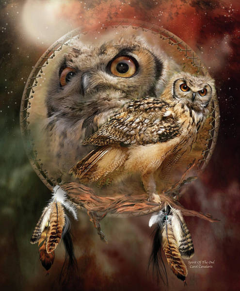 Nocturnal Wall Art - Mixed Media - Dream Catcher - Spirit Of The Owl by Carol Cavalaris