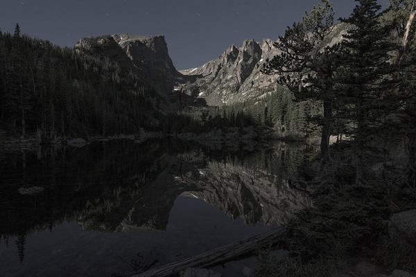 Photograph - Dream Lake By Moonlight by Gary Lengyel