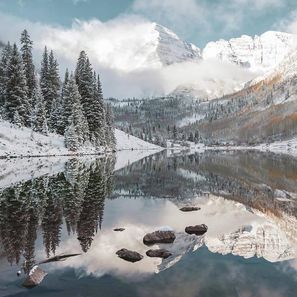 Photograph - Dream Mountain - Maroon Bells Aspen Mountain Landscape Square by Gregory Ballos