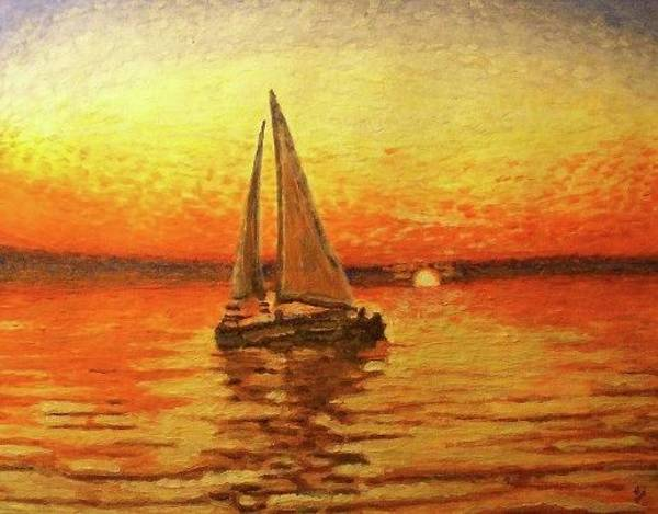 Impressionistic Sailboats Painting - Dreamboat by Wayne Vander Jagt