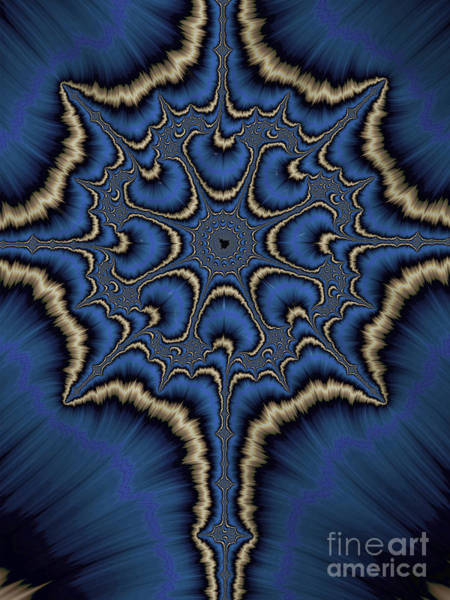 Wall Art - Digital Art - Dreamcatcher In Blue And Gold by John Edwards