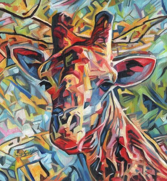 Semi Abstract Painting - Dreamcoat Giraffe by David Stribbling