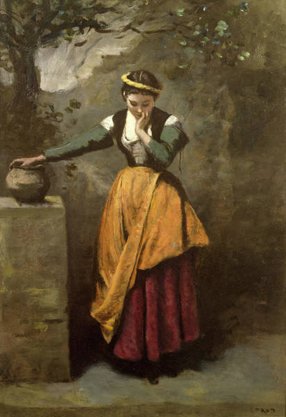 Dreamer Wall Art - Painting - Dreamer At The Fountain by Jean Baptiste Camille Corot