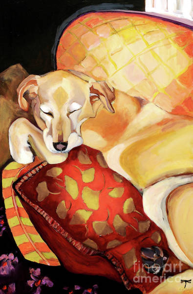 Yellow Lab Mixed Media - Dreaming Again by Laura Joseph