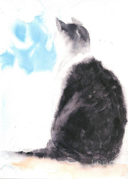 Painting - Dreaming Cat by Asha Sudhaker Shenoy