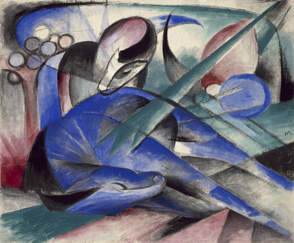 The Blue Rider Wall Art - Painting - Dreaming Horse by Franz Marc
