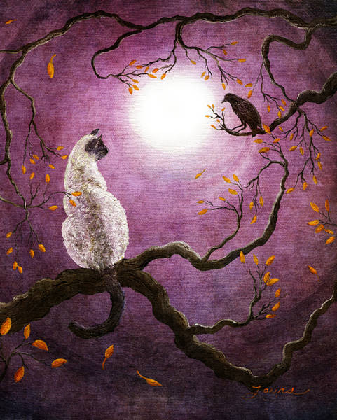 Siamese Cat Painting - Dreaming Of A Raven by Laura Iverson