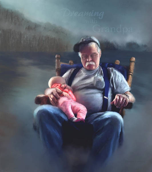 Painting - Dreaming With Grandpa by Susan Kinney