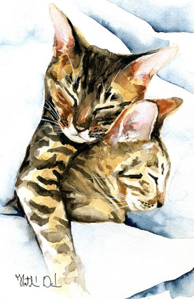 Dreamland - Bengal And Savannah Cat Painting Art Print