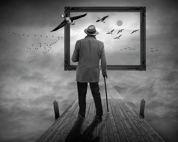 Photograph - Dreams So Real A Surreal Fantasy In Black And White by Randall Nyhof
