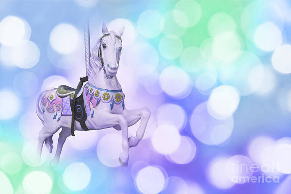 Fairground Photograph - Dreamy Pastel Blue Carousel Horse by Delphimages Photo Creations