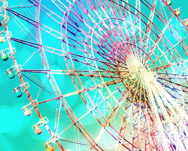 Fairground Photograph - Dreamy Pastel Ferris Wheel by Delphimages Photo Creations