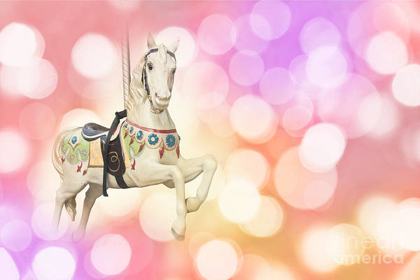 Fairground Photograph - Dreamy Pastel Pink Carousel Horse. by Delphimages Photo Creations
