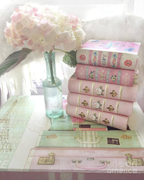 Wall Art - Photograph - Pink Books Hydrangea Flowers Wall Decor - Shabby Chic Cottage Pink Books Print - Shabby Chic Books by Kathy Fornal