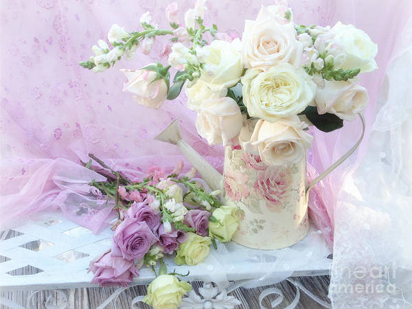 Chic Photograph - Dreamy Romantic Shabby Chic Spring Roses - Spring Romantic Bouquet Of Roses - Shabby Chic Floral Art by Kathy Fornal