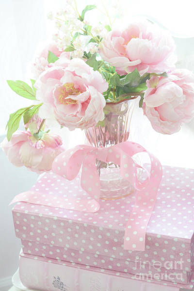 Wall Art - Photograph - Dreamy Shabby Chic Cottage Pink Peonies In Vase - Romantic Pink Peonies Floral Bouquet by Kathy Fornal