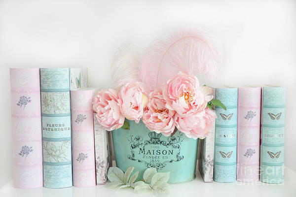 Romantic Flower Photograph - Dreamy Shabby Chic Paris Peonies Books Print - Pink Teal Peonies And Books Shabby Cottage Chic Decor by Kathy Fornal