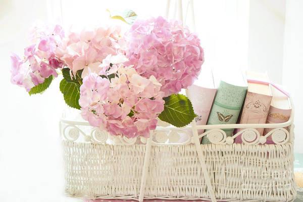 Hydrangea Photograph - Shabby Chic Pink Hydrangeas In Basket - Cottage Pink Hydrangeas Books Basket Print Home Decor by Kathy Fornal