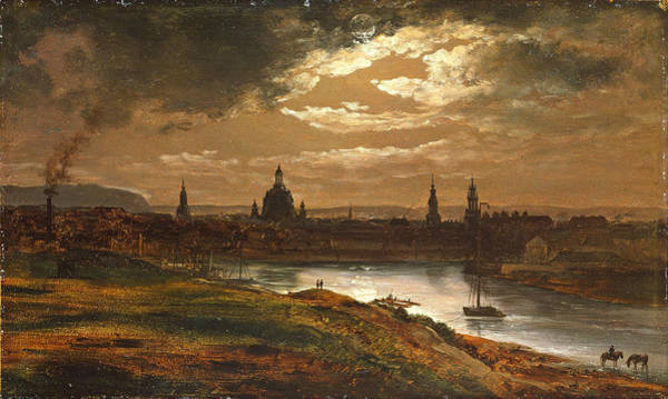 Lightening Painting - Dresden By Moonlight by Johan Christian Dahl