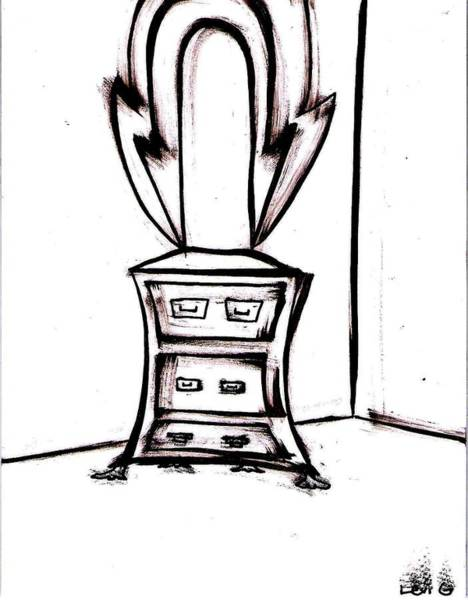 Electronica Drawing - Dresser With Mirror by Levi Glassrock