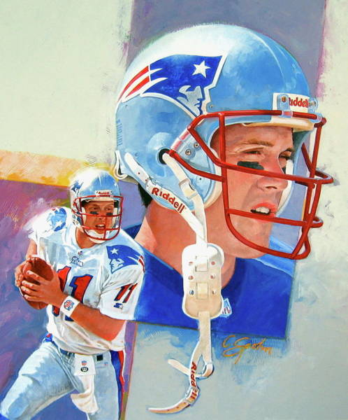 Wall Art - Painting - Drew Bledsoe by Cliff Spohn