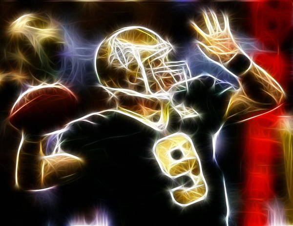 Football Players Wall Art - Digital Art - Drew Brees New Orleans Saints by Paul Van Scott