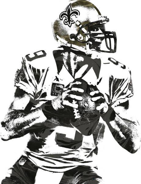 Catholic Mixed Media - Drew Brees New Orleans Saints Pixel Art 2 by Joe Hamilton