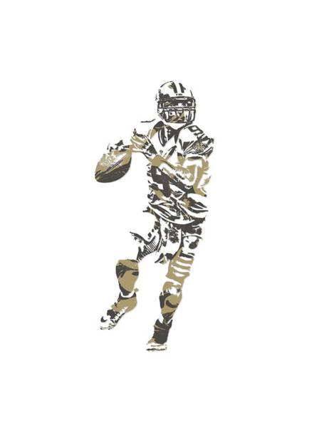 Super Bowl Mixed Media - Drew Brees New Orleans Saints Pixel Art T Shirt 1 by Joe Hamilton
